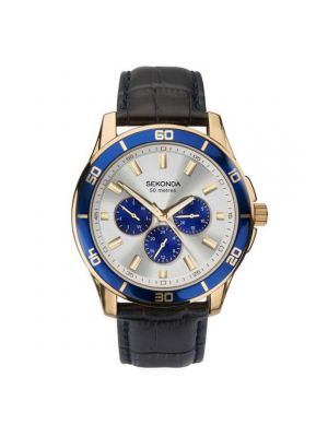 Sekonda Men's Watch with Gold Case & Leather Upper Strap and Silver Dial
