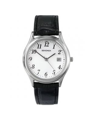 Sekonda Man's Watch with Silver Case & Leather Upper Strap and White Dial