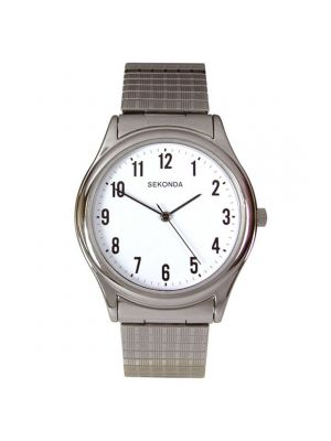Sekonda Men's Staineless Steel Expander Watch with White Dial
