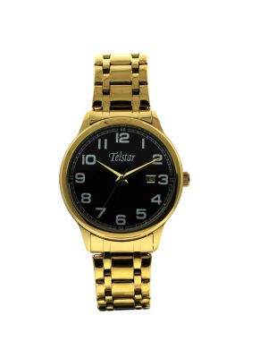 Telstar Mens Gold Tone Watch with Dark Brown Leather Strap