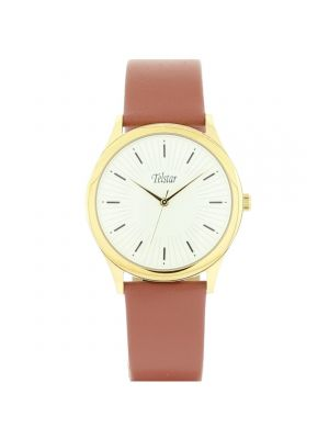 Telstar Mens Gold Tone Watch with Light Brown Leather Strap