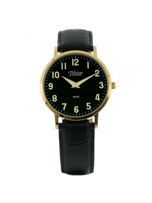 Telstar Mens Gold Tone Watch with Black Strap