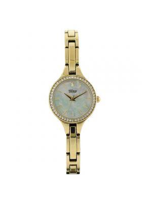 Telstar Ladies Gold Tone Bracelet Watch with Crystal Set Case