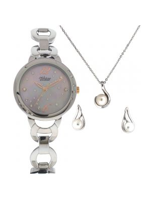 Telstar Ladies Silver Tone Watch, Pendant and Earring Gift Set