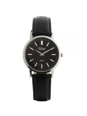 Telstar Ladies Black Leather Strap Watch