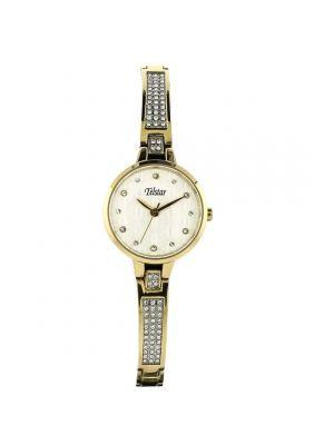 Telstar Ladies Gold Tone Crystal Set Bracelet Watch