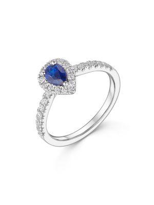 18ct White Gold Pear Sapphire & Diamond Ring