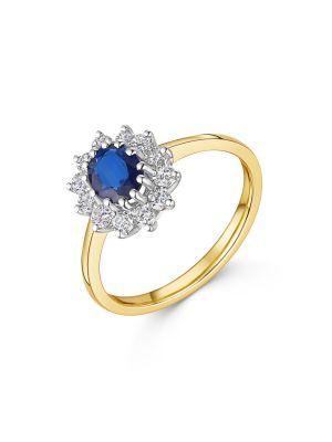 18ct Yellow Gold Sapphire & Diamond Cluster Ring