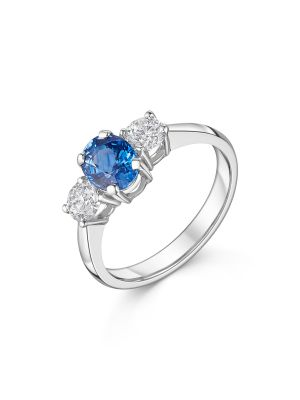 18ct White Gold Three Stone Sapphire & Diamond Ring