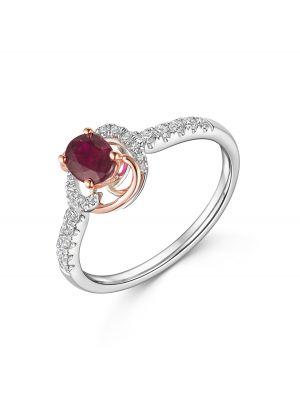 18ct Rose & White Gold Diamond & Ruby Ring