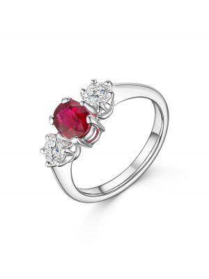 18ct White Gold Three Stone Ruby & Diamond Ring