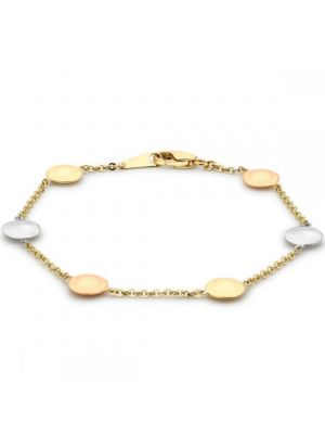 9ct Yellow, White and Rose Gold Disc Link Bracelet