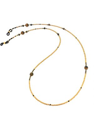 Tiger's Eye & Gold Seed Bead Frame Chain