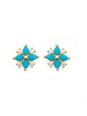 18ct Microplated Yellow Gold Turquoise Flower Stud Earrings