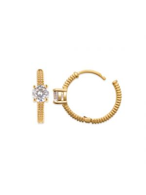 18ct Yellow Gold Microplated Solitaire Cubic Zirconia Earrings