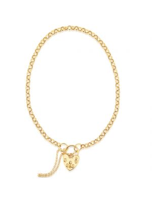 9ct yellow gold heart padlock and belcher link bracelet