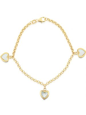 14ct mother of pearl heart charm bracelet