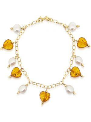 14ct amber and freshwater cultured pearl charm bracelet