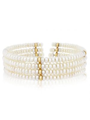 9ct Yellow Gold Bead & Cultured Pearl Bangle