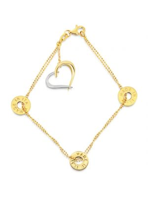14ct yellow gold open heart bracelet