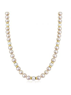 14ct Yellow Gold with Cream & Pink Cultured Pearl Necklace