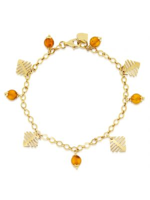 14ct Yellow Gold & Amber Charm Bracelet