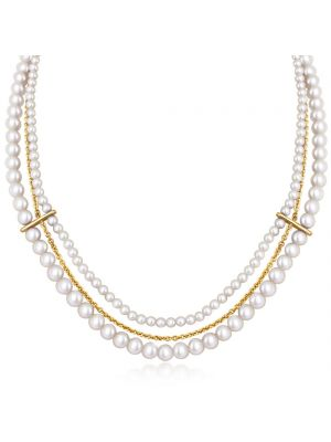 Yellow Gold Microplated & Freshwater Pearl Necklace