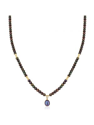 9ct Yellow Gold & Grey Cultured Pearls Necklace