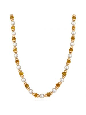 Rose Gold Necklace with Freshwater Pearls & Citrine