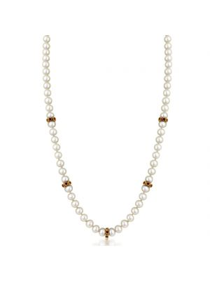 9ct Cultured Pearl Necklace with Ruby Roundells