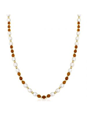 14ct Gold Freshwater Pearl & Amber Necklace
