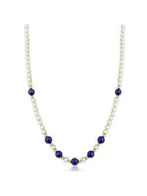 9ct Yellow Gold Cultured Pearl and Lapis Necklace