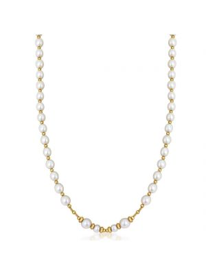 9ct Yellow Gold Freshwater Pearl and Gold Bead Necklace