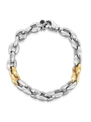 Italian 9ct Yellow Gold & Sterling Silver Link Bracelet
