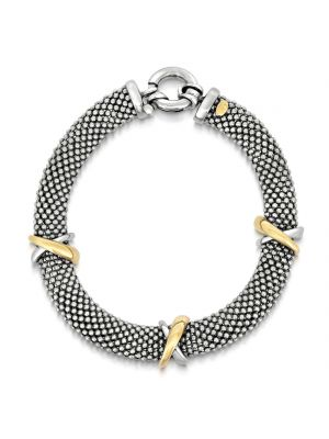 Italian 9ct Yellow Gold and Silver Mesh Bracelet
