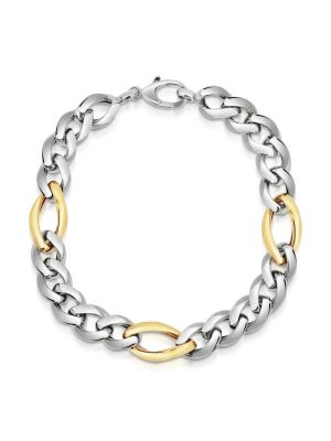 9ct Yellow Gold & Sterling Silver Link Bracelet