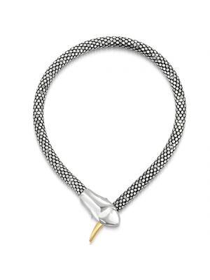 Italian Sterling Silver & 9ct Yellow Gold Snake Bracelet