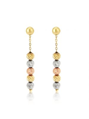 9ct Rose, White & Yellow Gold Drop Earrings