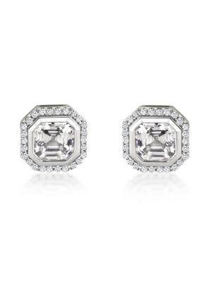 9ct White Gold Cushion Cut Stud Earrings