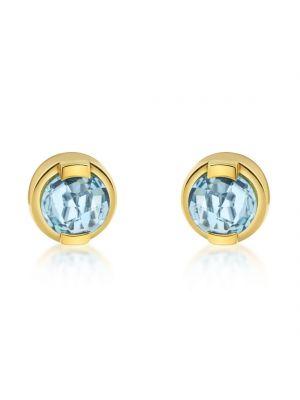 14ct Yellow Gold Blue Topaz Stud Earrings