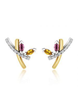 18ct Diamond, Amethyst & Yellow Topaz Drop Earrings