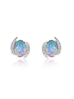 18ct White Gold Diamond & Opal Earrings