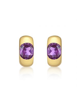 9ct Yellow Gold Amethyst Stud Earrings