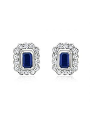18ct White Gold Diamond & Rectangular Sapphire Stud Earrings