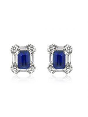 18ct White Gold Diamond & Rectangular Sapphire Earrings