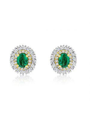 18ct White Gold Diamond & Emerald Stud Earrings