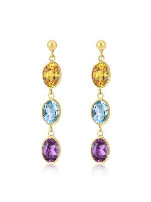 9ct Yellow Gold Amethyst Citrine & Blue Topaz Drop Earrings