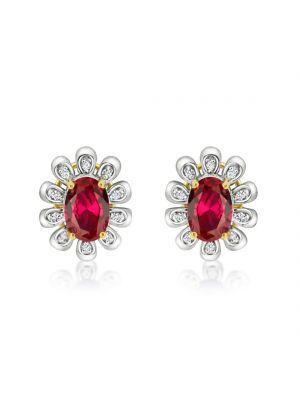 9ct Yellow & White Gold Diamond & Ruby Earrings