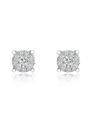 18ct White Gold Diamond Halo Earrings