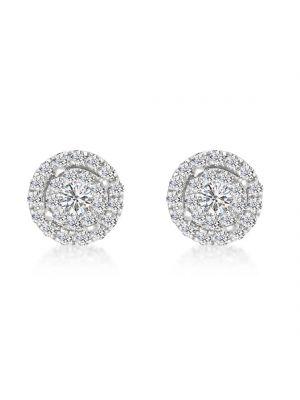 18ct White Gold Microset Diamond Halo Earrings